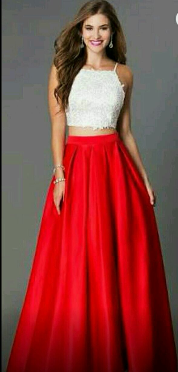 buy white and red crop top long skirt at lowest price